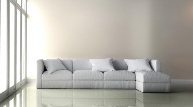 白い革の椅子 - 白い壁の背景に部屋のインテリア。 3dレンダリング