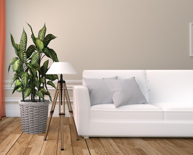 White leather chair - room interior on white wall background. 3d rendering