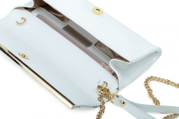 White leather female bag isolated over white