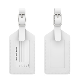 White leather luggage identification label tag with name, address, city, state and phone fields on a white background. 3d rendering