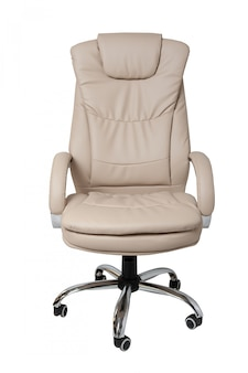 White leather office chair isolated on white