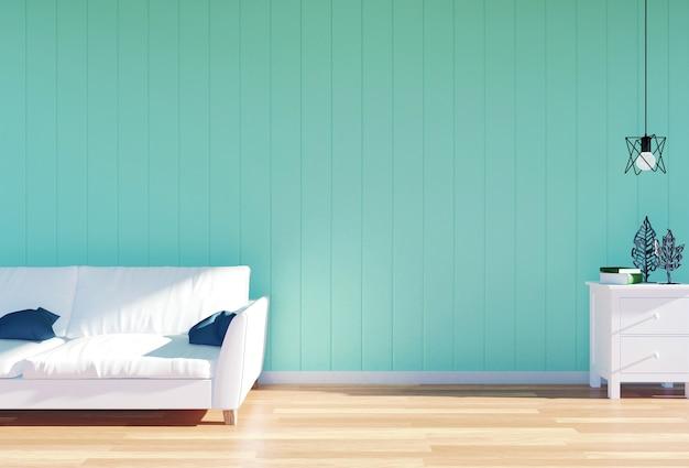 白い革のソファとスペースのある緑色の壁パネル