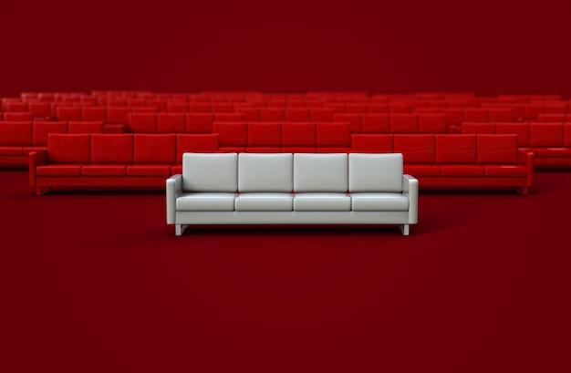 赤い背景で隔離の白い革張りのソファ。 3dレンダリング