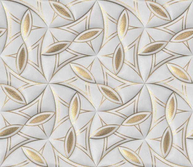 ゴールドの装飾が施されたクラシックな3d壁紙の白い革のタイル