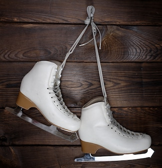 White leather womens skates for figure skating