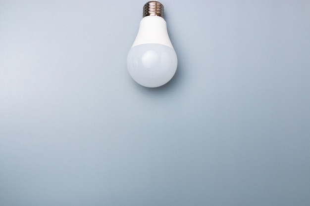 White led bulb with copy space for advert. business idea concept