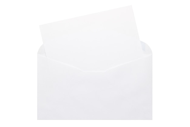 White letter paper and white open envelope isolated on white background.