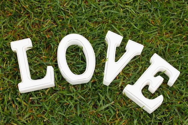 緑の草の背景に白い文字愛