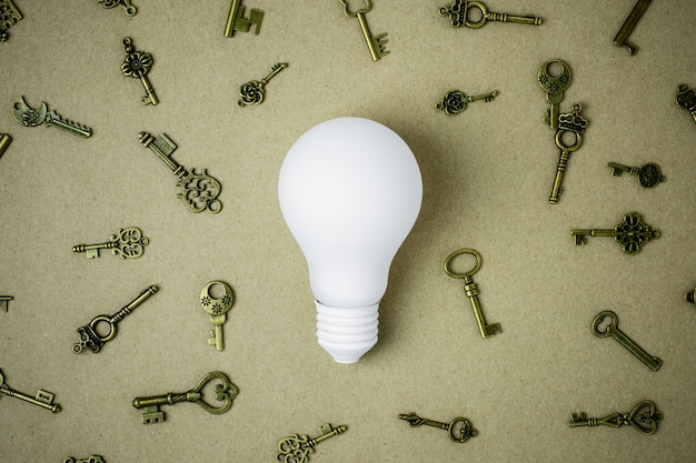 White light bulb and many keys on brown paper background