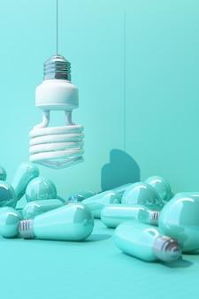파란색 백열 램프로 둘러싸인 파란색 벽 배경에 흰색 빛 형광 전구 led-3d 렌더링