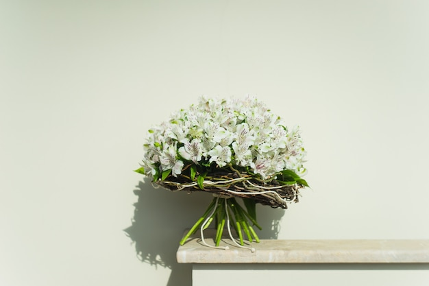 White lily of the incas in a bunch