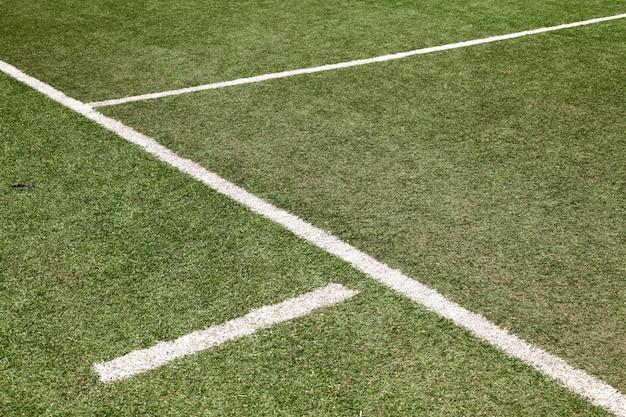 White line on soccer football field
