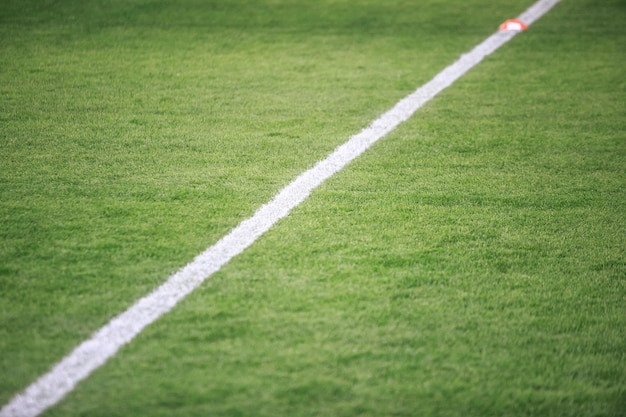 White lines  in a soccer stadium