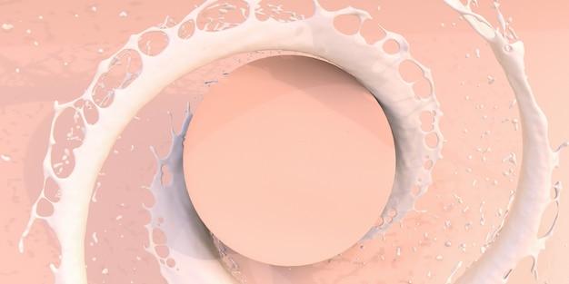 파스텔 스튜디오 배경의 연단 주위에 흰색 액체 파운데이션 크림 같은 스플래시 소용돌이. 미용 제품, 화장품 판촉을 위한 유액 흐름. 추상 조롱. 3d 배너