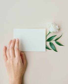White lisianthus with a card