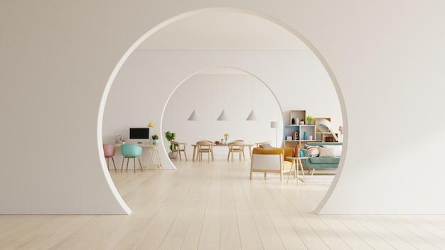 Белая гостиная и современная столовая с деревянной мебелью.