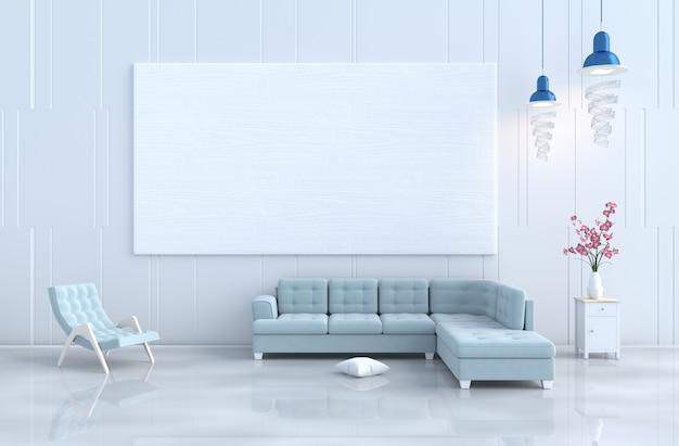 Белый интерьер гостиной, кресло, диван, деревянная стена, орхидея. рождественский день, новый год. 3d r
