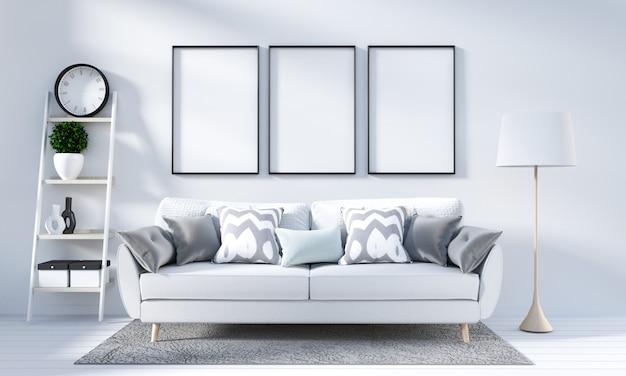 White living room interior in scandinavian style. 3d rendering