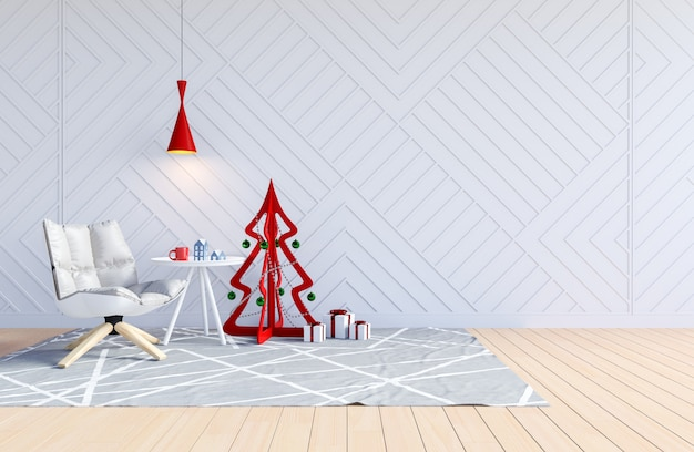 White living room interior with christmas tree for christmas holiday, 3d rendering