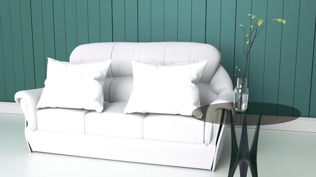 Белый интерьер гостиной с тканевым диваном на пустом фоне стены мяты. 3d рендеринг
