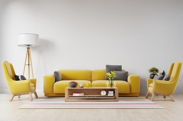 Белый интерьер гостиной с желтой ткани диван, лампа и растения на фоне пустой белой стене.