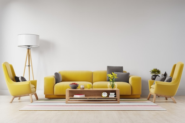 White living room interior with yellow fabric sofa, lamp and plants on empty white wall background.