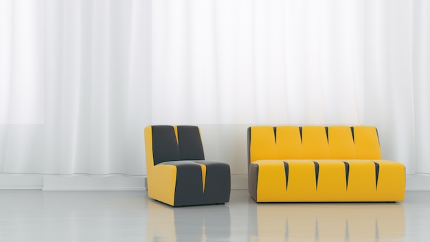 White living room interior with yellow fabric sofas on empty white wall background.