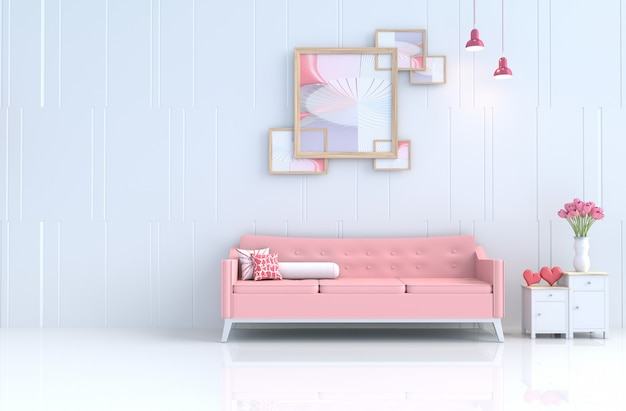 White living room of love on valentine's day and new year. 3d render.