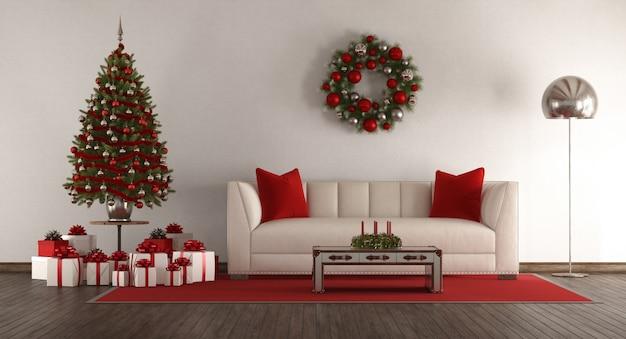クリスマスツリーと白いリビングルーム