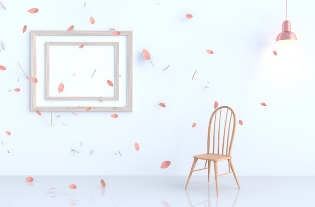 White living room with picture frame, blow pink leaves, branch,chair, lamp. 3d render. for valentine.
