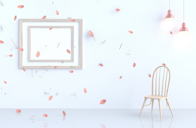 White living room with picture frame, blow pink leaves