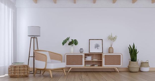 Белая гостиная с мебелью из ротанга и стильным декором, 3d-рендеринг