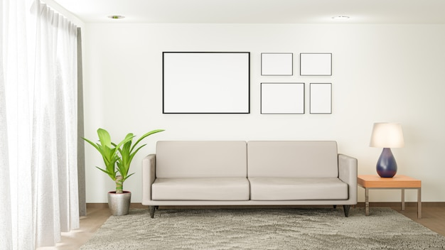 White living room with sofa. 3d render interior.