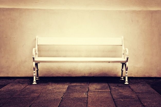 White lonely bench.