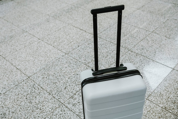 White luggage at the airport