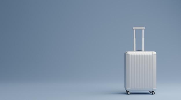 青い背景の旅行の概念上の白い荷物。 3dレンダリング
