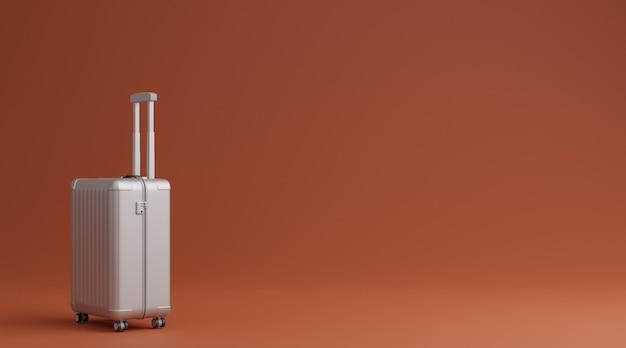 茶色の背景の旅行の概念上の白い荷物。 3dレンダリング