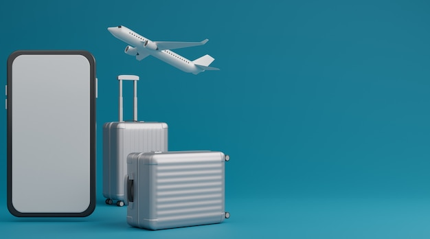 White luggage with white screen mobile mockup and airplane over blue background travel concept. 3d rendering