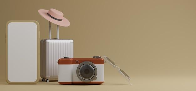 Белый багаж с белым экраном мобильного макета, солнцезащитные очки и камера на коричневом фоне концепции путешествия. 3d рендеринг