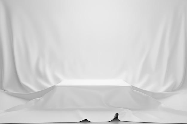 豪華なコンセプトのヴィンテージの壁の上の台座または空白の表彰台の棚に置かれた白い豪華な布または布。製品の博物館またはギャラリーの背景。 3dレンダリング。