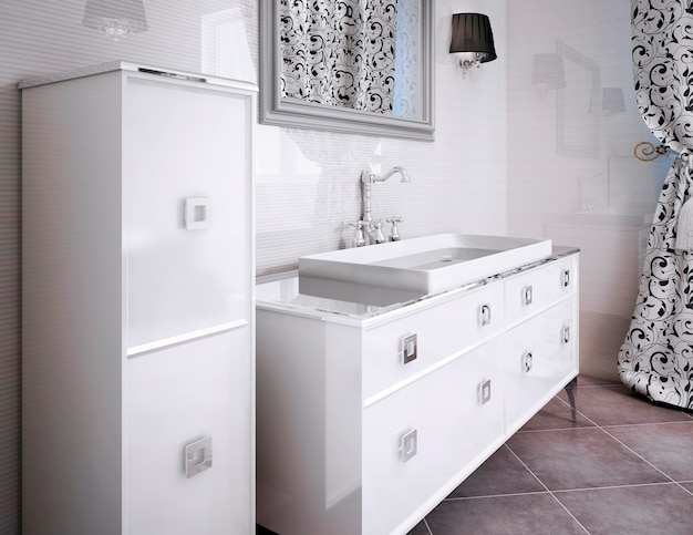 욕실에 흰색 고급 가구. 아름다운 무늬 커튼. 3d 렌더링