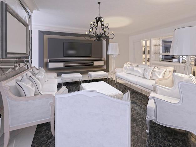 Интерьер белой роскошной гостиной и черный телевизор хранения в декоративной рамке. гостиная оформлена в стиле ар-деко с элементами классики. 3d визуализация.