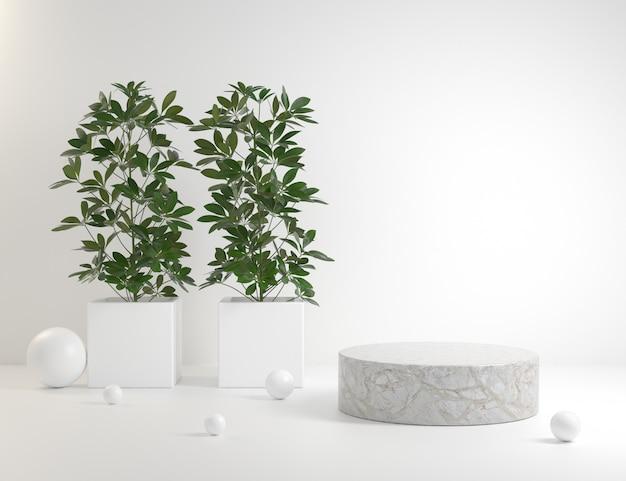 White luxury stone podium with plant 3d render