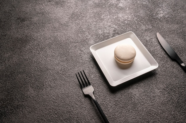 White macaroon cake in a white stylish plate. minimalistic food photo. dessert for the coffee shop. empty copyspace space.