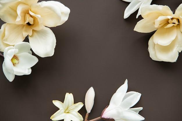 White magnolia pattern background