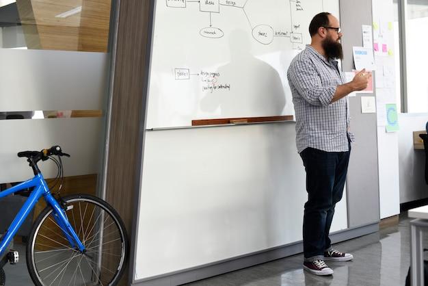 White man presenting business plan