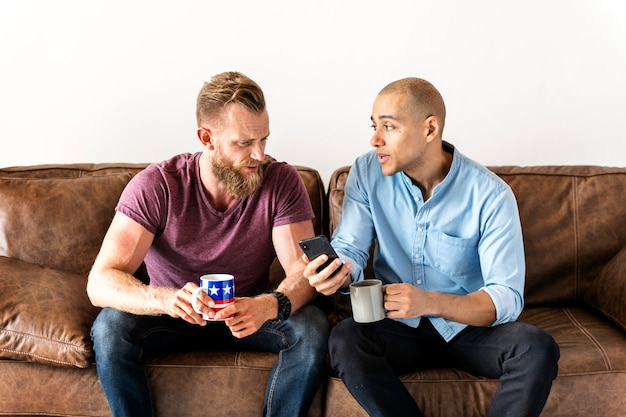 White man talking together