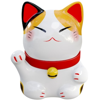 White maneki neko raised right paw 3d render front view