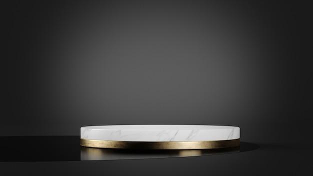 製品プレゼンテーションの3dレンダリング用の白い大理石と金のプラットフォームモックアップ
