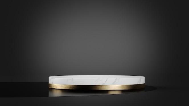 제품 프리젠 테이션 3d 렌더링을위한 흰색 대리석 및 금 플랫폼 모형